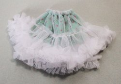 画像1: チュチュ風スカート/白×グリーン/22cmサイズ【受注販売商品】